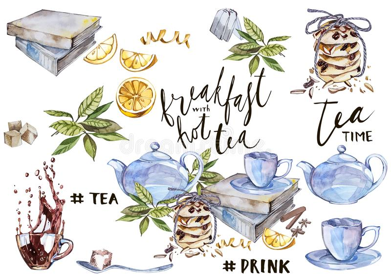 Collection of hand drawn illustration on the theme tea. Watercolor set. Menu design. royalty free illustration