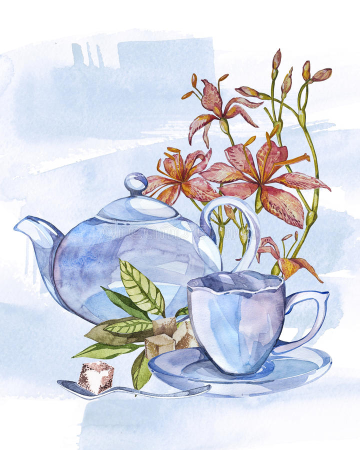 Collection of hand drawn illustration on the theme tea. Watercolor set. Menu design. vector illustration