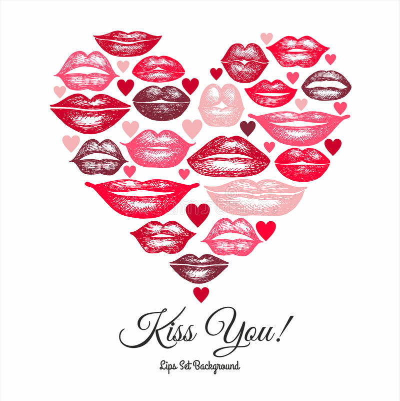 Collection of hand drawn lips vector illustration