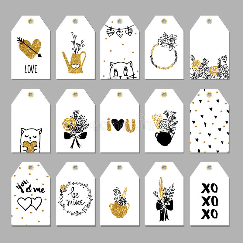 Collection of hand drawn romantic gift tags. stock illustration