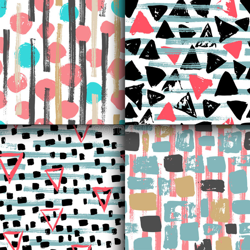 Collection of 4 hand drawn seamless geometric patterns. royalty free illustration