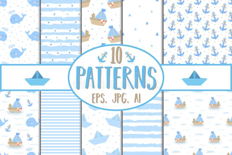 Collection of hand-drawn seamless patterns. Vector image on the marine theme for a boy. Illustration for holiday, baby shower, bir stock illustration