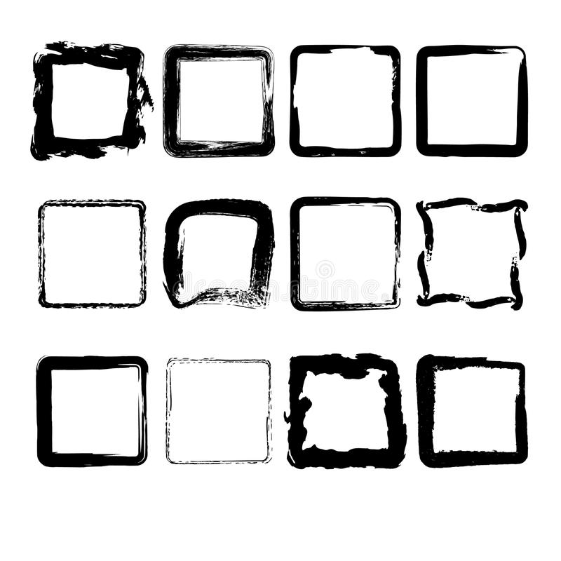 Collection of hand drawn squares. Set of hand drawn grunge square frames vector illustration