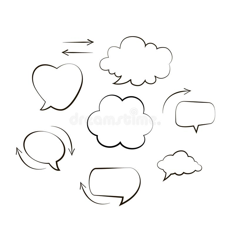 Collection of hand drawn think and talk speech bubbles message. Doodle style black comic balloon, cloud, heart shaped design eleme royalty free illustration