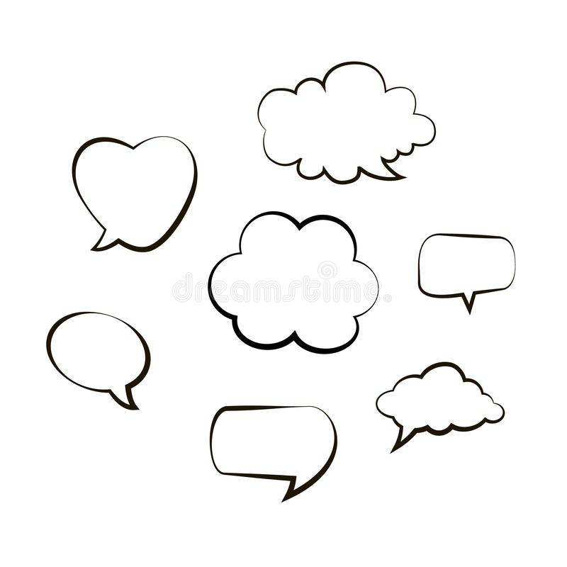 Collection of hand drawn think and talk speech bubbles message. Doodle style black comic balloon, cloud, heart design eleme stock illustration