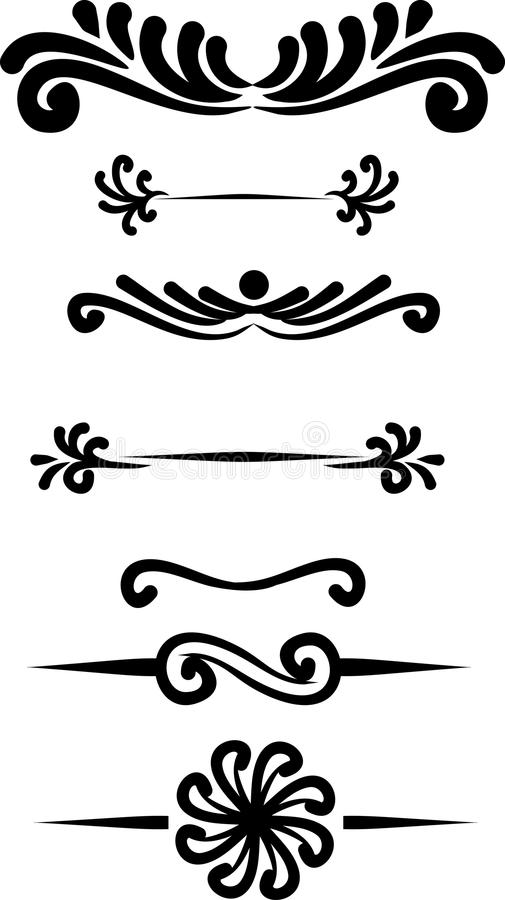 Collection of hand drawn vintage frame for text decoration in ve royalty free illustration
