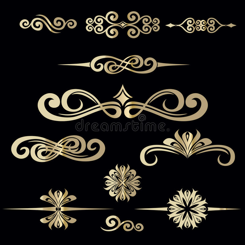 Collection of hand drawn vintage frame for text decoration in vector in gold on black background vector illustration