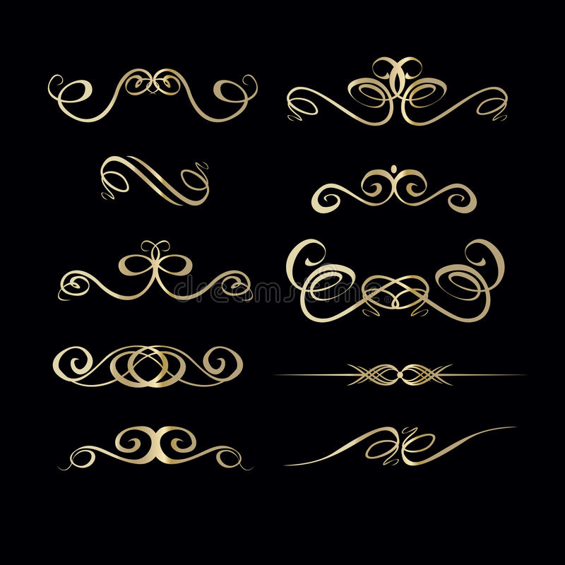 Collection of hand drawn vintage frame for text decoration in vector in gold on black background, curled lines. royalty free illustration