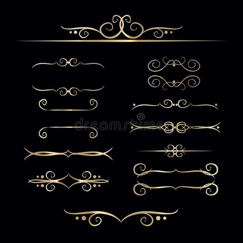 Collection of hand drawn vintage frame for text decoration in vector in gold. The design of the banners vector illustration