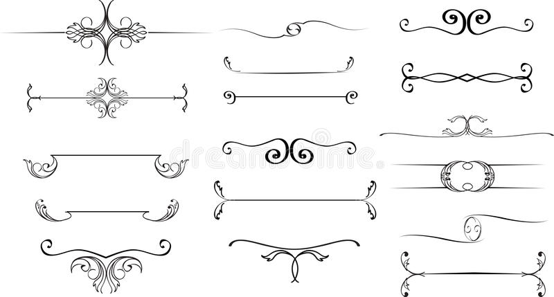 Collection of hand drawn vintage frames for text decoration in v stock illustration