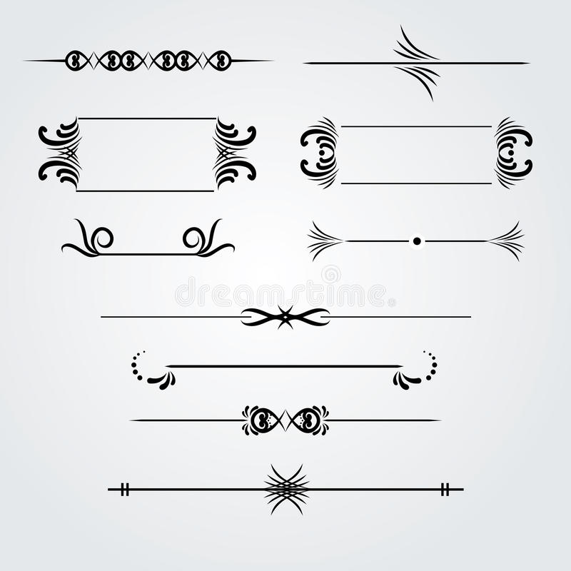 Collection of hand drawn vintage frames for text decoration stock illustration