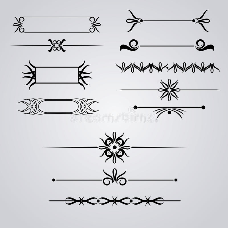 Collection of hand drawn vintage frames for text decoration vector illustration