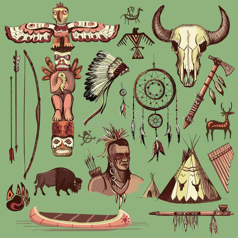 Collection of hand drawn wild west american indian royalty free illustration