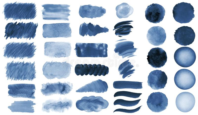Collection of hand-made blue watercolor painted brushes, smears, blobs, stains, circles, stripes, stickers, spot, blots, slick, we. B buttons, patch backgrounds royalty free illustration