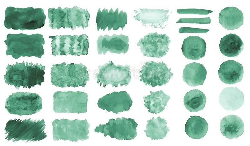 Collection of hand-made green watercolor painted brushes, smears, blobs, stains, circles, stripes, stickers, spot, blots, slick, w. Eb buttons, patch backgrounds royalty free illustration
