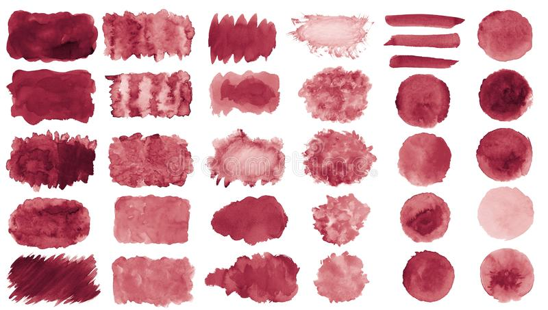 Collection of hand-made red watercolor painted brushes, smears, blobs, stains, circles, stripes, stickers, spot, blots, slick, web. Buttons, patch backgrounds royalty free illustration