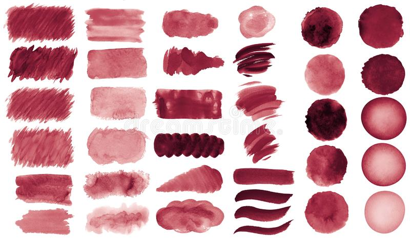 Collection of hand-made red watercolor painted brushes, smears, blobs, stains, circles, stripes, stickers, spot, blots, slick, web. Buttons, patch backgrounds stock illustration