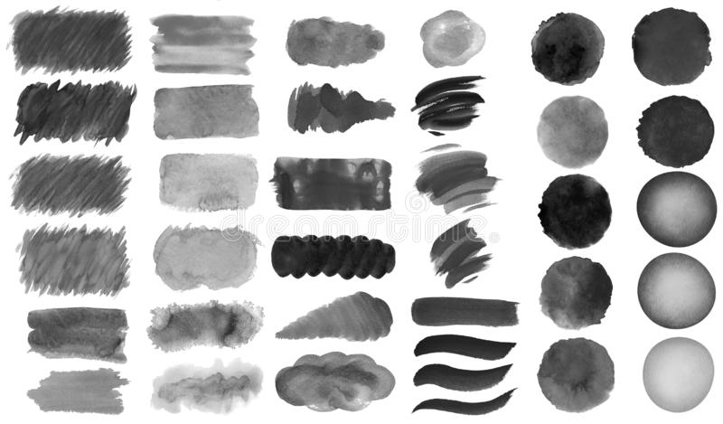 Collection of hand-made red watercolor painted brushes, smears, blobs, stains, circles, stripes, stickers, spot, blots, slick, web. Buttons, patch backgrounds vector illustration