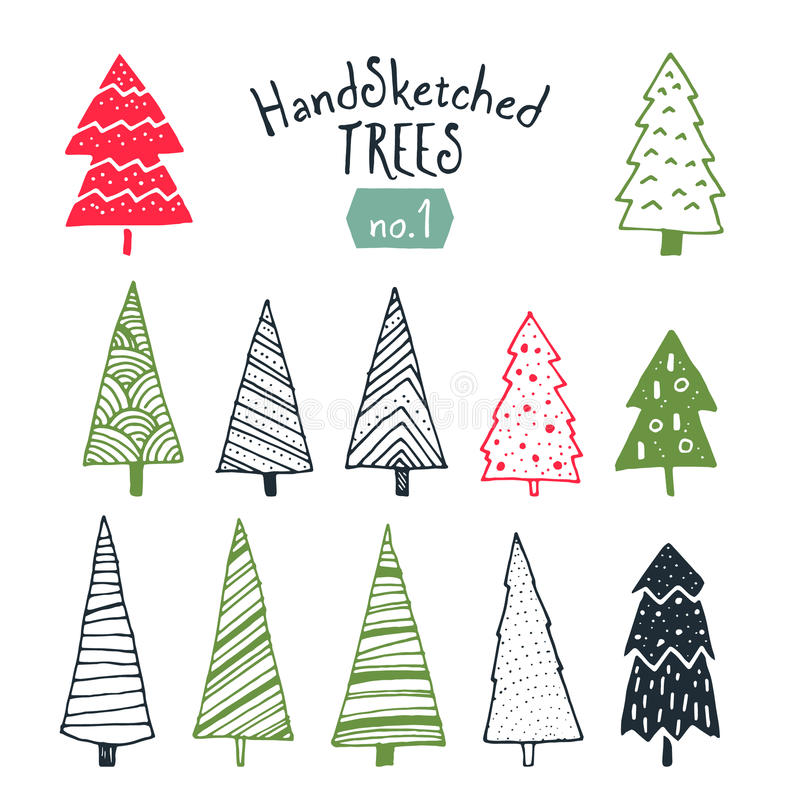 Collection of hand sketched Christmas trees stock illustration