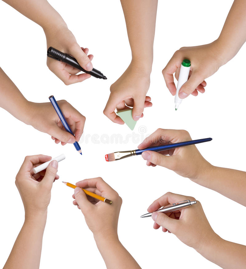 Collection of hands holding different stationary objects royalty free stock photos