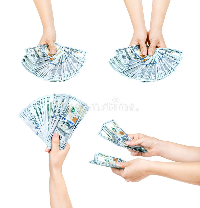 Collection of Hands holding dollars royalty free stock photography