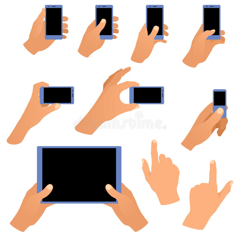 Collection of hands holding phone and tablet royalty free illustration