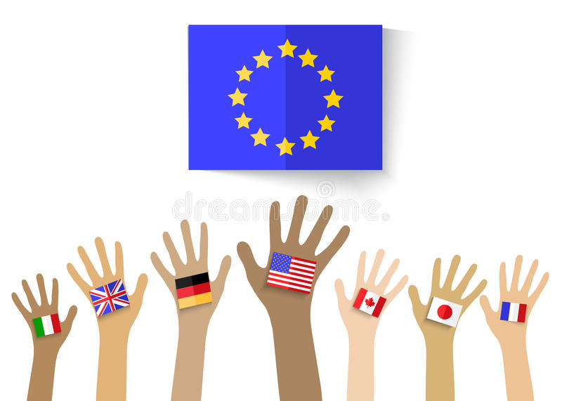 Collection of hands with national flags, isolated in white background. Vector EPS10. stock illustration