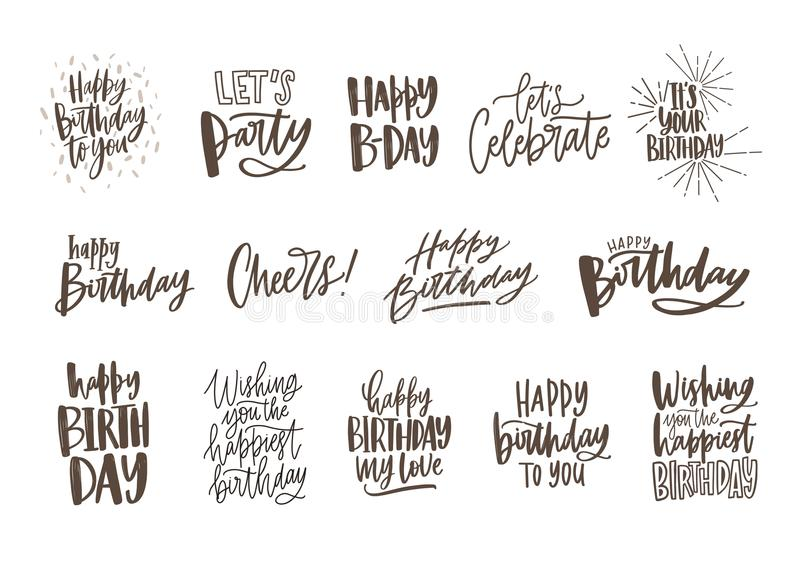 Collection of handwritten birthday wishes isolated on white background. Bundle of elegant festive lettering hand drawn vector illustration