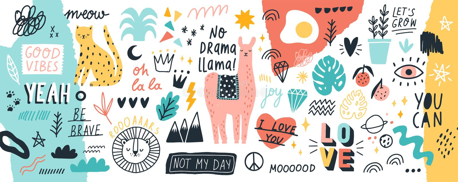 Collection of handwritten slogans or phrases and decorative design elements hand drawn in trendy doodle style - animals vector illustration