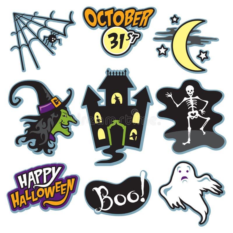 Collection hantée de Halloween de maison avec la sorcière, le squelette, et le fantôme illustration stock