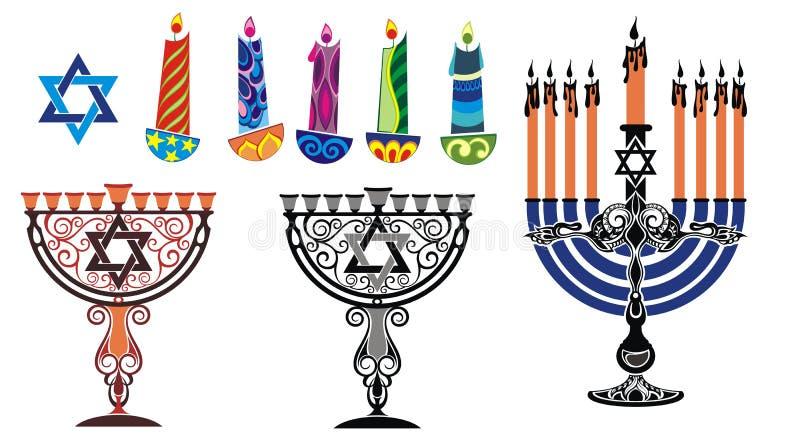 Hanukkah design elements stock illustration