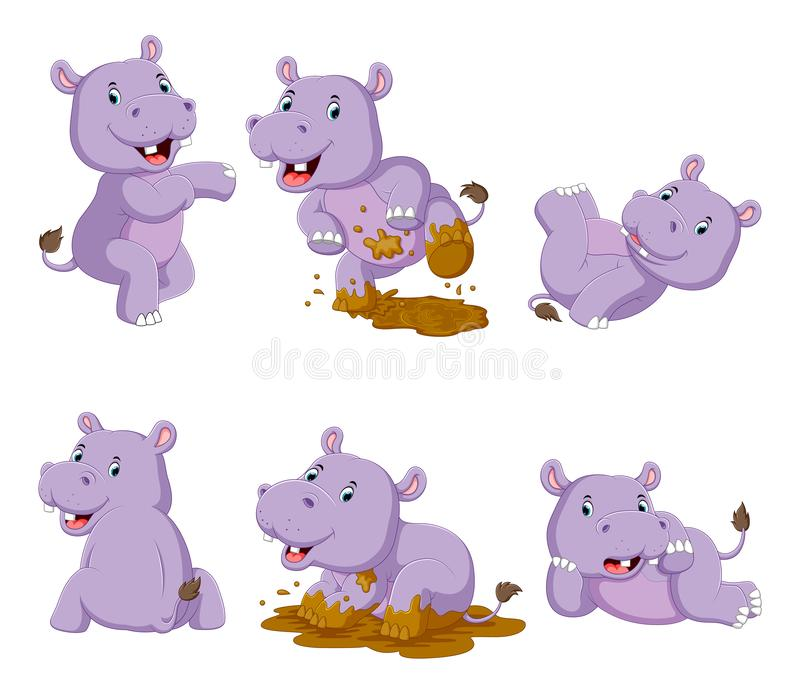 Collection of happy hippo with various posing vector illustration
