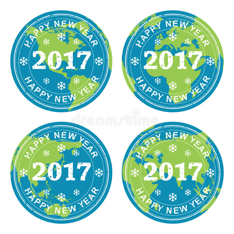 Collection of happy new year 2017 rubber stamps on earth, vector. Collection of happy new year 2017 rubber stamps on earth globes, all over the world celebration royalty free illustration