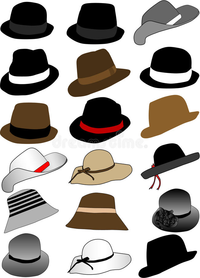 Collection of hats royalty free illustration