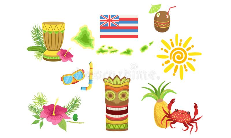Collection of Hawaiian Traditional Objects, Coconut Cocktail, Turtle, Sun, Tiki Mask, Crab, Pineapple, Hibiscus Flower. Vector Illustration on White Background vector illustration