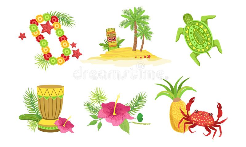 Collection of Hawaiian Traditional Objects, Flower Necklace, Palm Tree, Tiki Mask, Drum, Crab, Pineapple, Hibiscus. Flower Vector Illustration on White vector illustration
