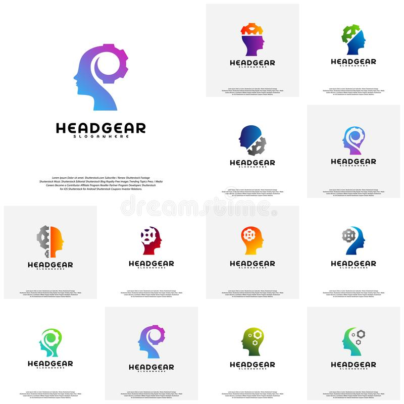 Collection Head Gear logo vector, Head intelligence logo designs concept vector royalty free illustration