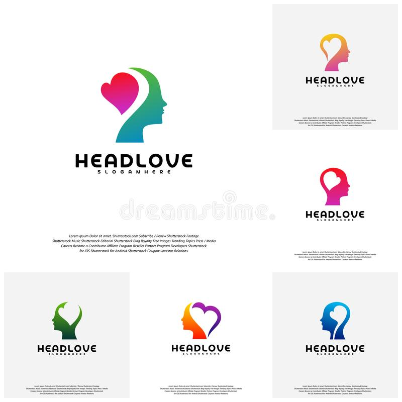 Collection Head love logo vector, Head intelligence logo designs concept vector.  royalty free illustration