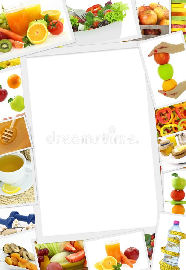 Collection of healthy food photos stock image