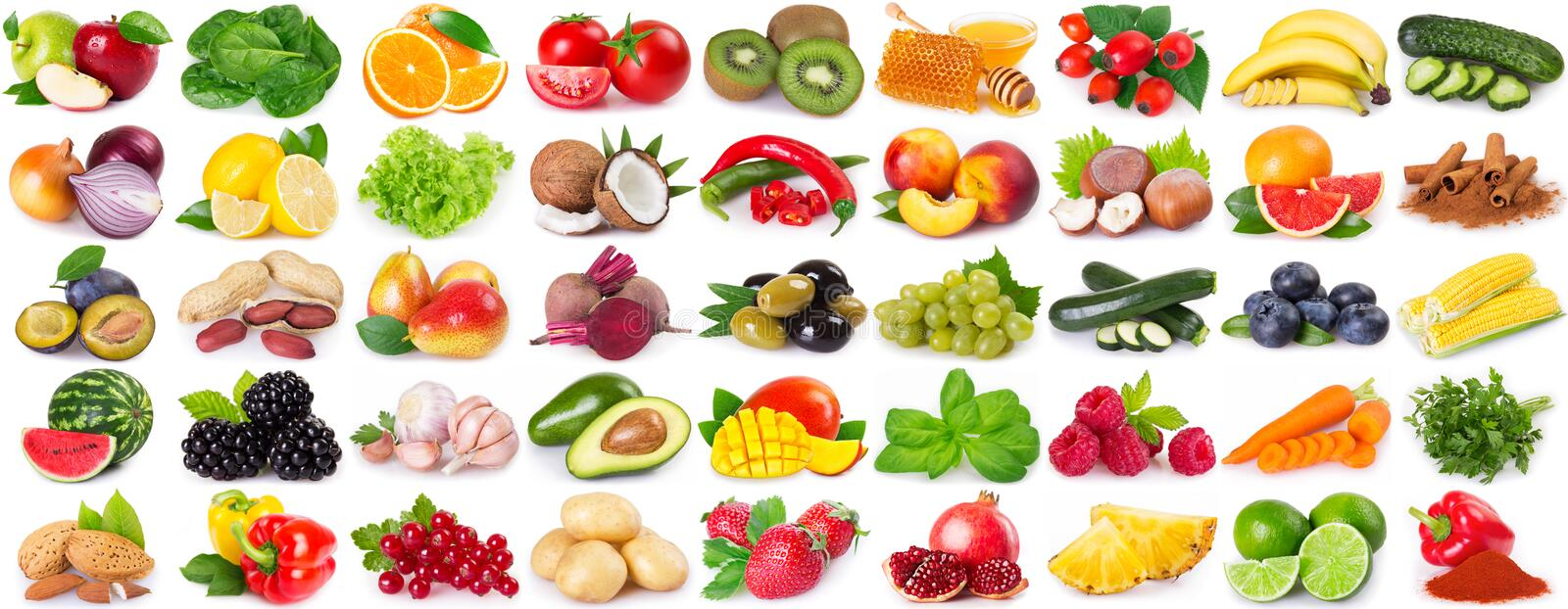Collection of healthy food on white background. Collection of healthy food isolated on white background, set of fresh fruits and vegetables royalty free stock images