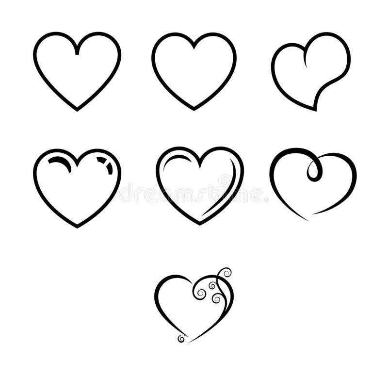 Collection of heart illustrations, set of hearts, love symbol stock photos