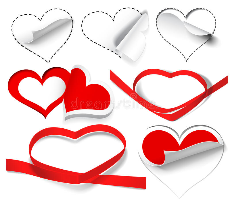 Collection of hearts stock image
