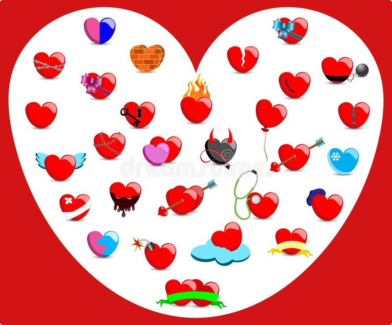 Collection of Hearts with Different Feelings royalty free illustration