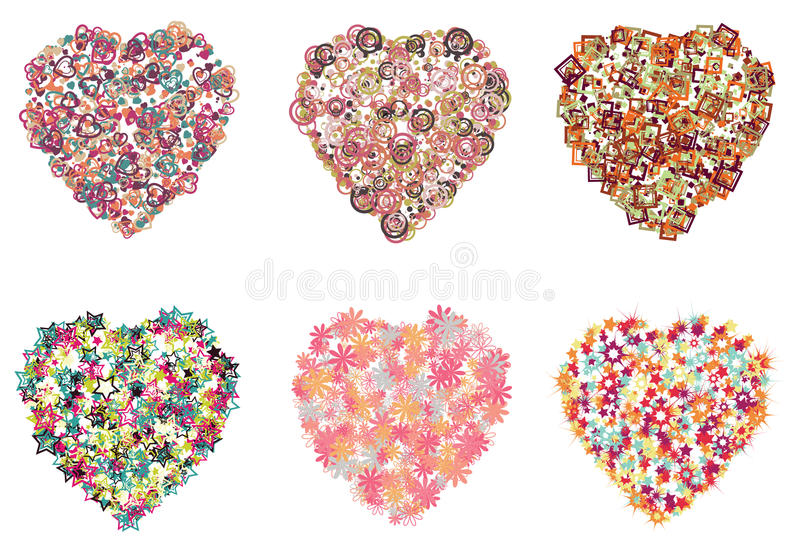 Collection of hearts filled with different shapes stock illustration