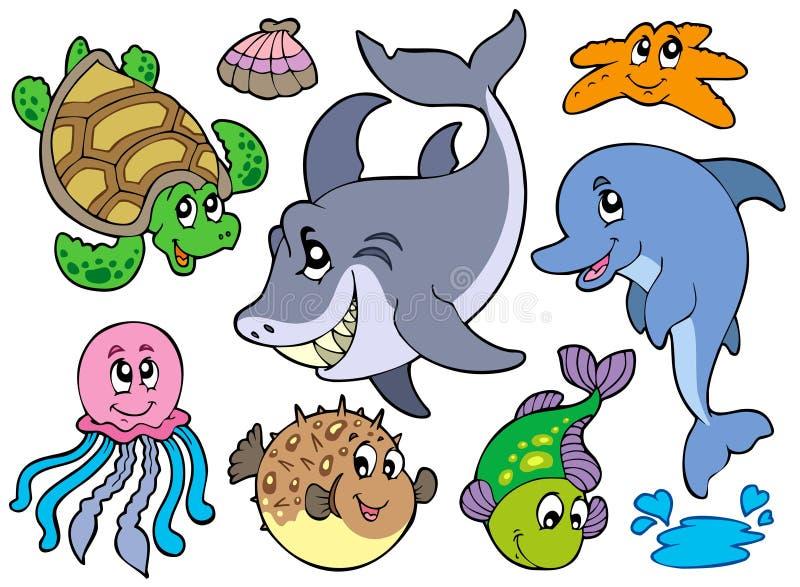 Collection heureuse d'animaux de mer illustration stock