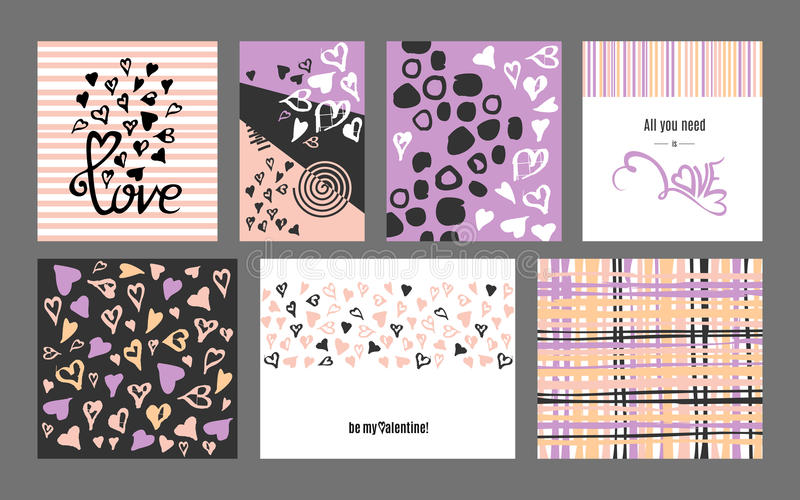 Collection heureuse de cartes de voeux de griffonnage de jour de valentines de vecteur illustration stock