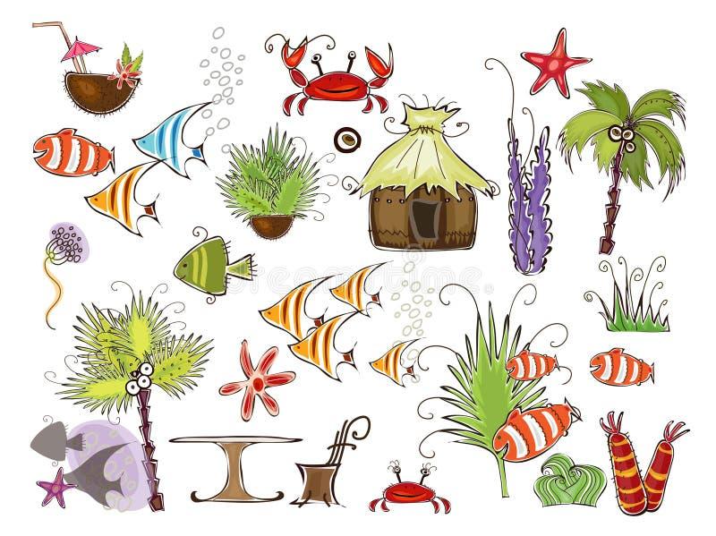 Collection heureuse réglée du monde de voyage d'île de paradis illustration de vecteur