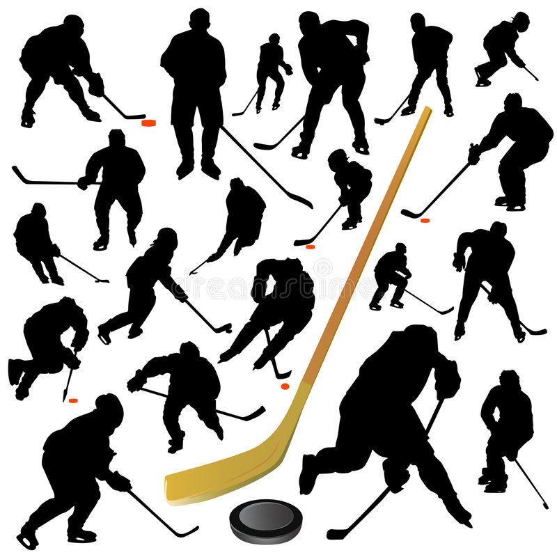 Collection of hockey vector stock illustration