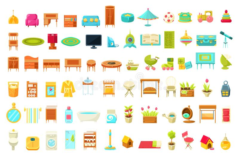 Collection of Home Furniture, Home Interior Decorations Elements of Living Room, Bedroom, Bathroom, Childrens Room royalty free illustration