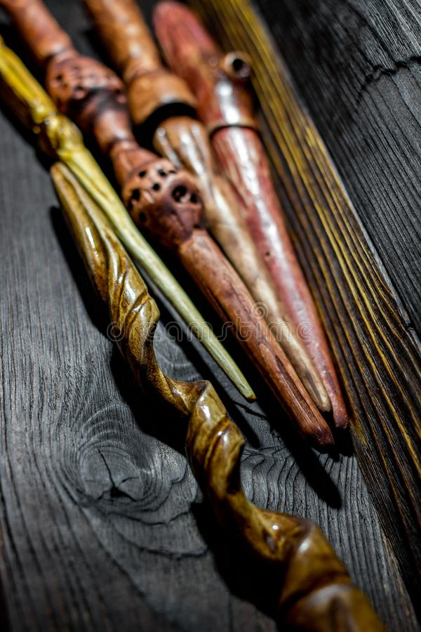 Collection of homemade magic wands. Vertical royalty free stock image